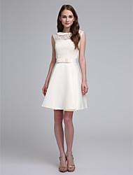 LAN TING BRIDE Short / Mini Jewel Bridesmaid Dress - Elegant Sleeveless Lace Satin