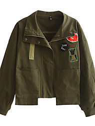Damen Stickerei Einfach Lässig/Alltäglich Jacke,Winter Langarm Grün Baumwolle