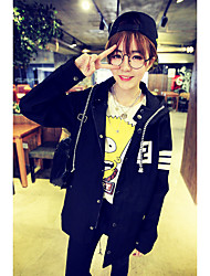 580 # Korean version of the Spring and Autumn College Wind long section of alphanumeric printing hooded windbreaker jacket female dovetail