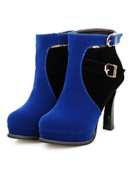Damen-Stiefel-Lässig-PU-Blockabsatz-Modische Stiefel-Blau / Rot