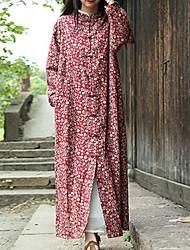 Feminino Casaco Trench Casual Chinoiserie Outono / Inverno,Floral Vermelho Algodão / Linho Colarinho Chinês-Manga Longa Média