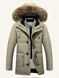 Men's Down Coat,Street chic Casual/Daily Camouflage-Polyester White Duck Down Long Sleeve Hooded Black / Brown / Green