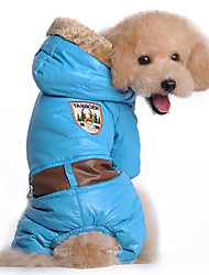 Dog Coat / Hoodie / Clothes/Jumpsuit Blue / Pink Dog Clothes Winter / Spring/Fall Solid Keep Warm / Windproof