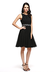 2017 TS Couture® Cocktail Party Dress - Little Black Dress A-line Notched Short / Mini Satin with Sash / Ribbon / Bow(s)