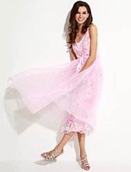 Women's Going out Sophisticated Chiffon Dress,Solid V Neck Midi Sleeveless Pink Polyester Summer