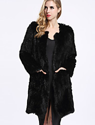 BF-Fur Style Women's Casual/Daily Simple Fur CoatSolid Long Sleeve Winter Black Rabbit Fur