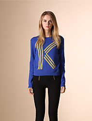 AOKNI® Damen Rundhalsausschnitt Lange Ärmel Pullover & Cardigan Blau / Königsblau-5002