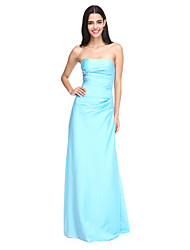 Sheath / Column Strapless Floor Length Satin Bridesmaid Dress with Side Draping Crystal Brooch Pleats by LAN TING BRIDE®