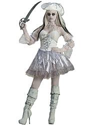 Disfraces de Cosplay Mago/Bruja / Calavera / Vampiros Cosplay de Películas Blanco Un Color Vestido / Sombreros Halloween / Carnaval Mujer