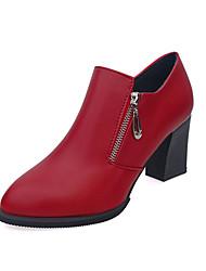 Mujer Botas Confort PU Primavera Otoño Vestido Tacón Robusto Negro Rojo 10 - 12 cms