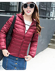 Women's Down Coat,Simple Casual/Daily Plus Size Solid-Polyester White Duck Down Long Sleeve