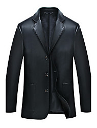 Men's Plus Size Simple Leather Jackets,Solid Long Sleeve Blue / Black Polyester