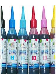 Inkjet Printer Ink (Black 100ML Red 100ML Yellow 100ML Blue 100ML Light Blue 100ML Light Red 100ML)