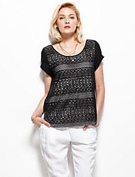Damen Solide Einfach Ausgehen T-shirt,Rundhalsausschnitt Sommer Kurzarm Schwarz Polyester Dünn