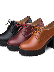 Women's Oxfords Spring Fall Comfort PU Casual Low Heel Lace-up Black Brown Burgundy Other