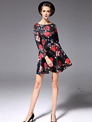 Women's A Line DressFloral Round Neck Mini Long Sleeve Black Cotton Fall High Rise Micro-elastic Medium