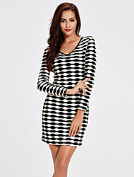 1287 Women's Going out / Casual/Daily Simple Black and White DressCheck V Neck Above Knee Long Sleeve Black Cotton