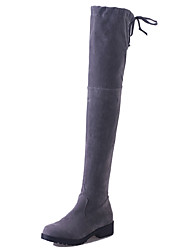 Women's High Boots Low Heel Lace-up Office & Career / Party & Evening / Dress / Casual Black / Gray