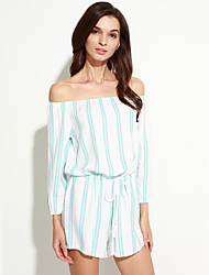 Women's Striped Blue Jumpsuits,Street chic Boat Neck Long Sleeve