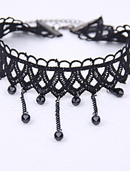Vintage Gothic Jewelry Black Lace Multilayer Black Beads Tassel Elastic Tattoo Choker Necklace
