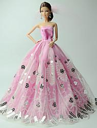 Fête / Soirée Robes Pour Poupée Barbie Rose Imprimé Robes Pour Fille de Doll Toy