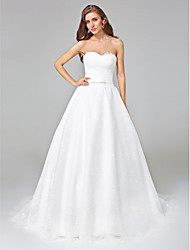 A-line Wedding Dress - Elegant & Luxurious Open Back Court Train Sweetheart Lace with Bow Sash / Ribbon
