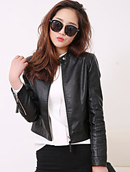 Women's Casual/Daily Street chic Spring Fall Leather Jacket,Solid Stand Long Sleeve Short PU