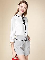 Feminino Blusa Casual Simples Outono,Sólido Branco Algodão Colarinho Chinês Manga ¾ Fina