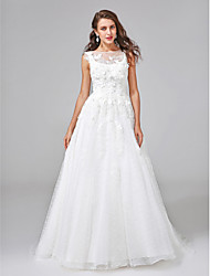 Lanting Bride® A-line Wedding Dress Court Train Bateau Lace / Organza with Appliques / Beading / Button / Flower