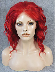 IMSTYLE 14''Cosplay Drag Queen Short Wave Red Synthetic Lace Front Wigs Heat Resistant Fiber