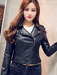 Women's Casual/Daily Simple Leather Jackets,Solid Long Sleeve Winter Pink / Black PU