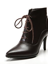 Mujer-Tacón Stiletto-Otro-Botas-Oficina y Trabajo Informal Fiesta y Noche Vestido-Cuero-Negro Marrón