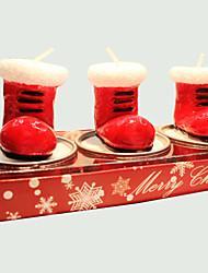 рождественские свечи мило снег 3шт сапоги форма
