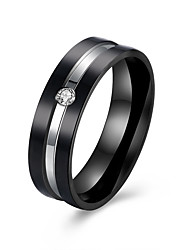 Rose Gold and Black Polished Silver Zircon Band Stainless Steel Wedding Rings For Couples Fashion Mens  Ring