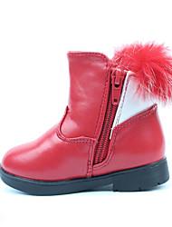 Girl's Boots Fall / Winter Comfort PU Dress / Casual Flat Heel Bowknot / Zipper Black / Pink / Red Walking