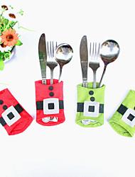 4pcs xmas decoração de festa de bolso titular cozinha lindo boneco de utensílios de mesa de jantar talheres saco