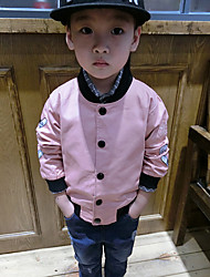 Girl's Casual/Daily Embroidered Jacket & CoatCotton Fall Blue / Pink