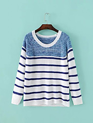 Damen Standard Pullover-Lässig/Alltäglich Einfach Gestreift Blau Weiß Rundhalsausschnitt Langarm Polyester Herbst Winter Mittel