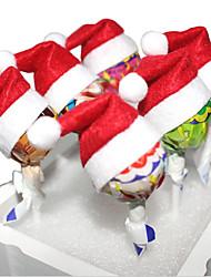 10pcs Christmas set bonbons chapeaux mini-père noël chapeaux partie lollipop décoration décoration de noël