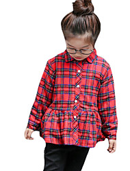 Girl Casual/Daily Plaid Shirt,Cotton Winter Long Sleeve Short
