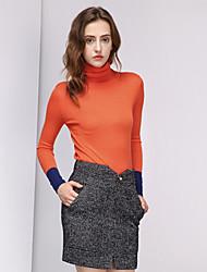 Damen Standard Pullover-Ausgehen Einfach Einfarbig Blau / Orange / Gelb Rollkragen Langarm Wolle / Acryl Winter Mittel Dehnbar