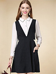 Women's Casual/Daily Simple A Line Dress,Solid Shirt Collar Above Knee Long Sleeve Black Cotton Fall High Rise Inelastic Thin