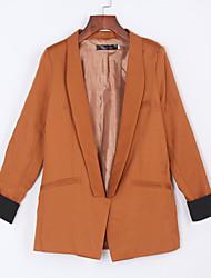 Blazer Simples Outono,Sólido Preto / Marrom Linho Colarinho de Camisa Manga Longa Grossa