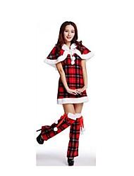 Christmas Costume /Holiday Halloween Costumes Red/Black Plaid Skirt / Garter Christmas Female