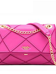 LaFestin® Women Cowhide Shoulder Bag Black / Fuchsia-6083633
