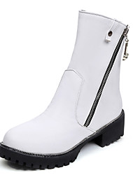 Women's Boots Winter Motorcycle Boots Dress Low Heel Zipper Black / Brown / White Others