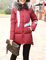 Women's Regular Padded Coat,Simple Going out Solid-Polyester Polypropylene Long Sleeve Hooded Red / Black / Green