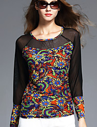 BOMOVO® Damen Rundhalsausschnitt Lange Ärmel T-Shirt Orange-B16QAY5