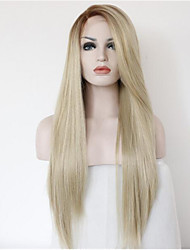 Long Natural Straight Ombre Black Root to Blonde Lace Front Wig Synthetic Hair Wigs for Women Half Hand Tied