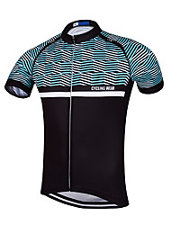 Cycling Jersey Men's Short Sleeve Bike Breathable Quick Dry Anatomic Design Front Zipper Reflective Strips Back Pocket Sweat-wicking